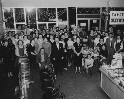 Employees inside the new, modern Woolworth's building in the mid 1950s.